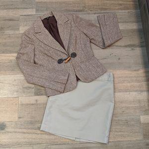 Zinc Tweed Blazer Brown Size Small